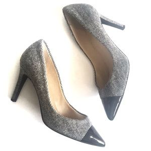 J. Crew Everly Patent Cap Toe Wool Pumps Size 8